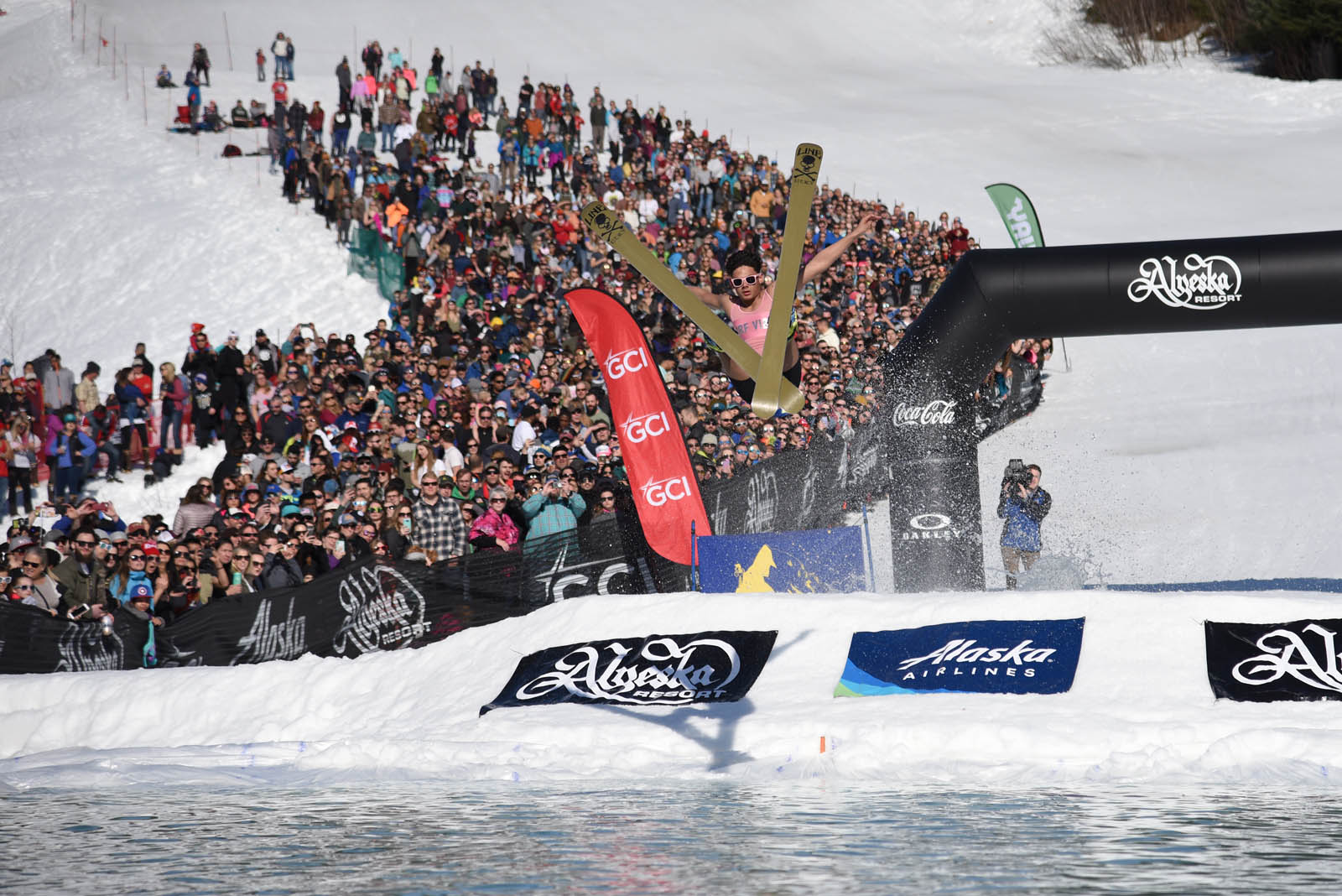 Skiers at the 2018 Alyeska Slush Cup