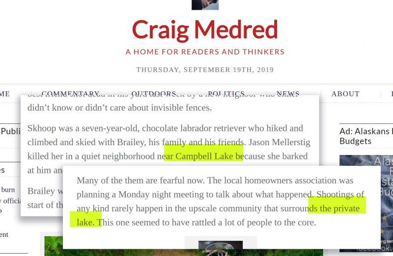 Craig Medred article screenshots describing Campbell Lake as a