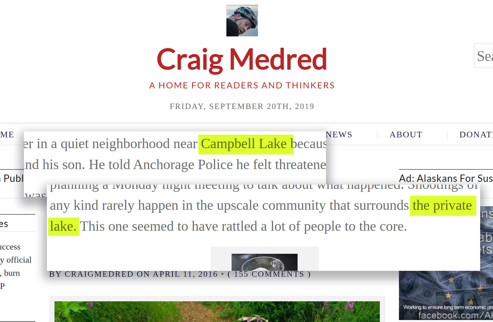 Craig Medred article screenshots describing Campbell Lake as a 'private lake.'