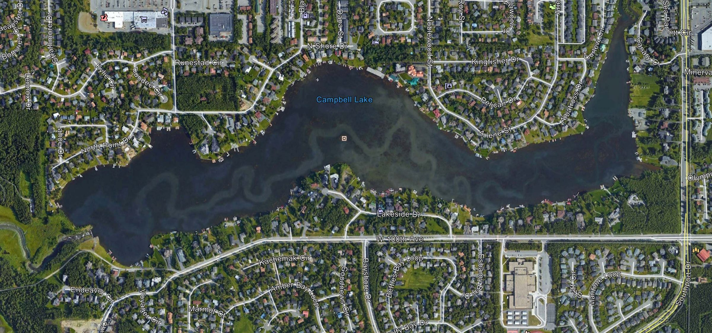 Satellite imagery of Campbell Lake