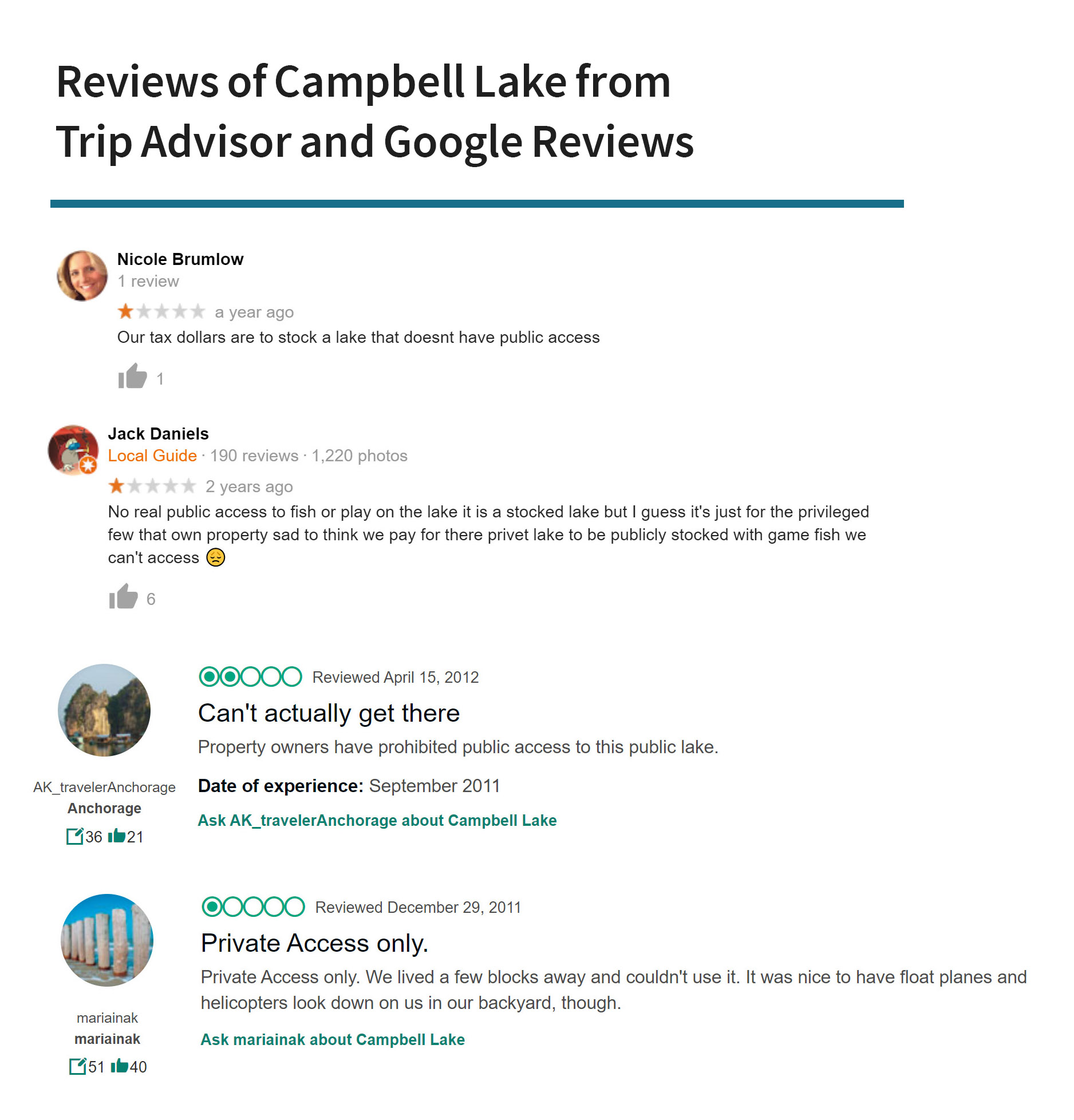 Reviews of Campbell Lake on Trip Advisor and Google Reviews