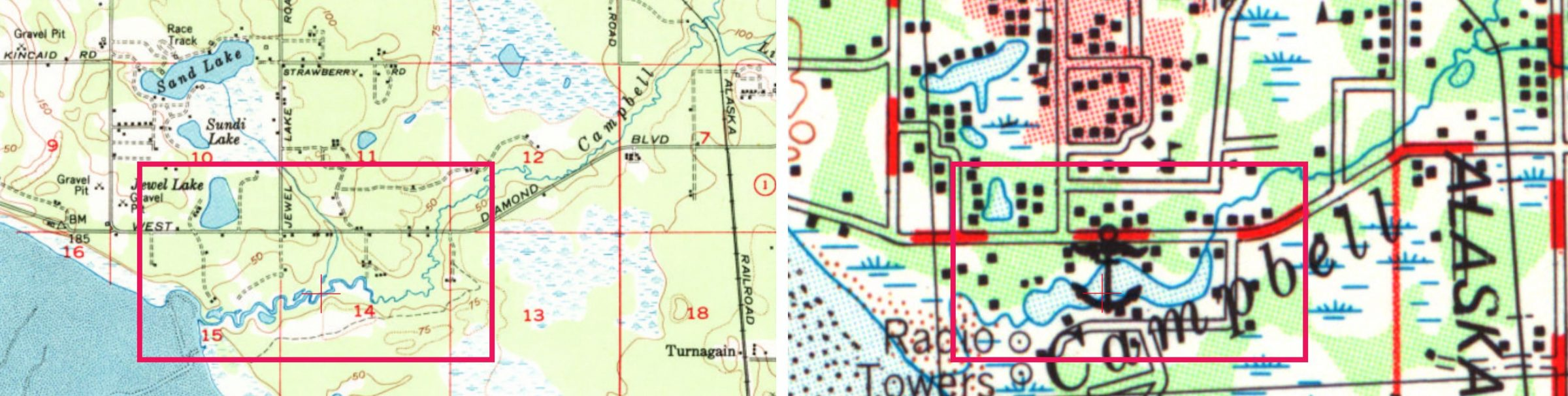 Historical maps of Campbell Lake, showing the creation of the lake