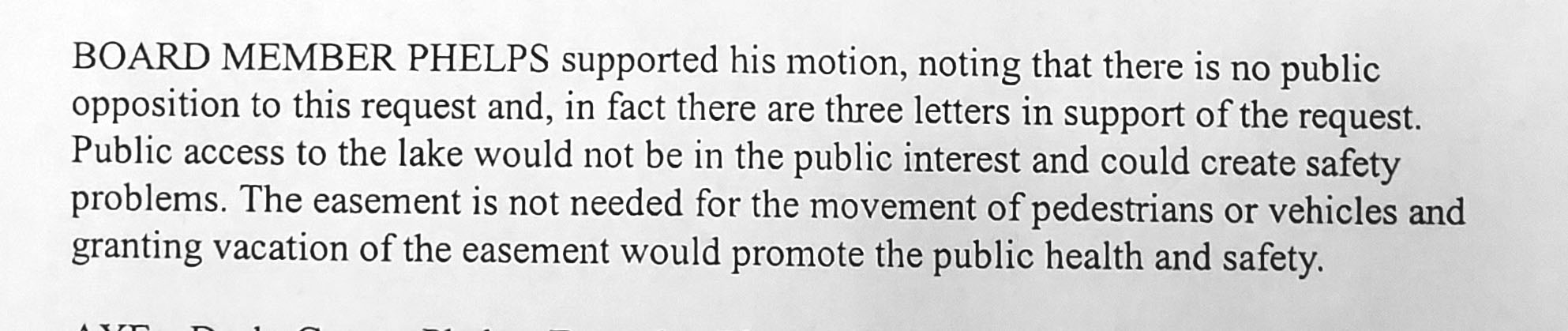 Municipal Platting Board meeting comment regarding von Imhof easement vacation