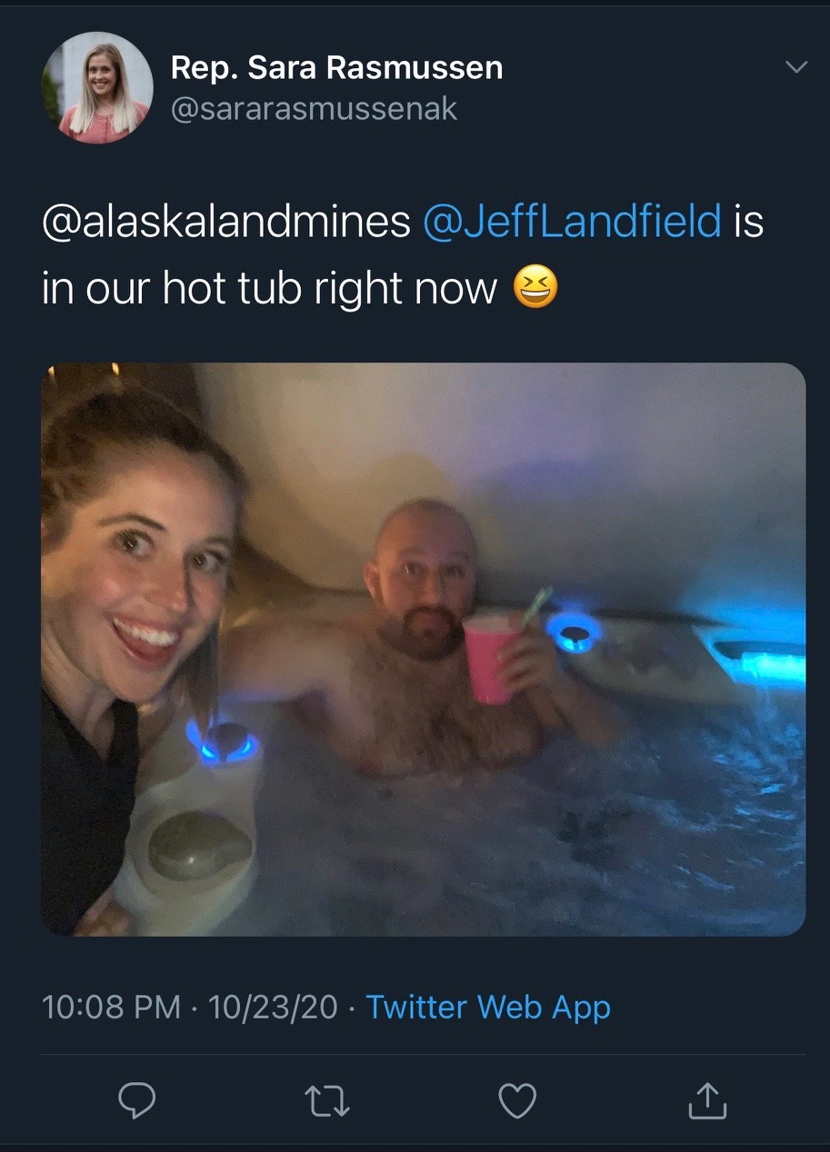 Sara Rasmussen with Jeff Landfield in hot tub