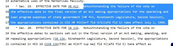 Text from SB 1005 showing effective date for HB 412 is July 1